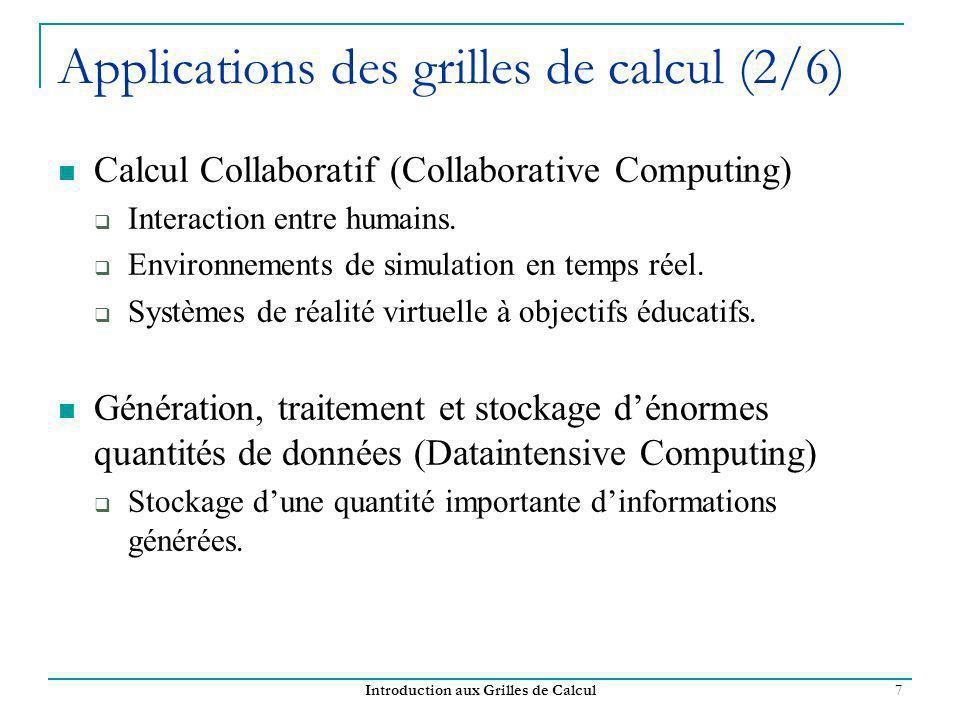 Introduction aux Grilles de Calcul 7 Applications des grilles de calcul (2/6) Calcul Collaboratif (Collaborative Computing) Interaction entre humains.