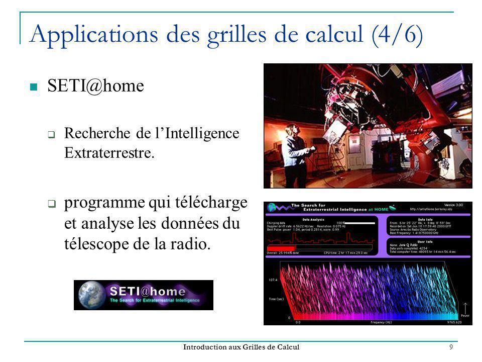 Introduction aux Grilles de Calcul 9 Applications des grilles de calcul (4/6) SETI@home Recherche de lIntelligence Extraterrestre. programme qui téléc