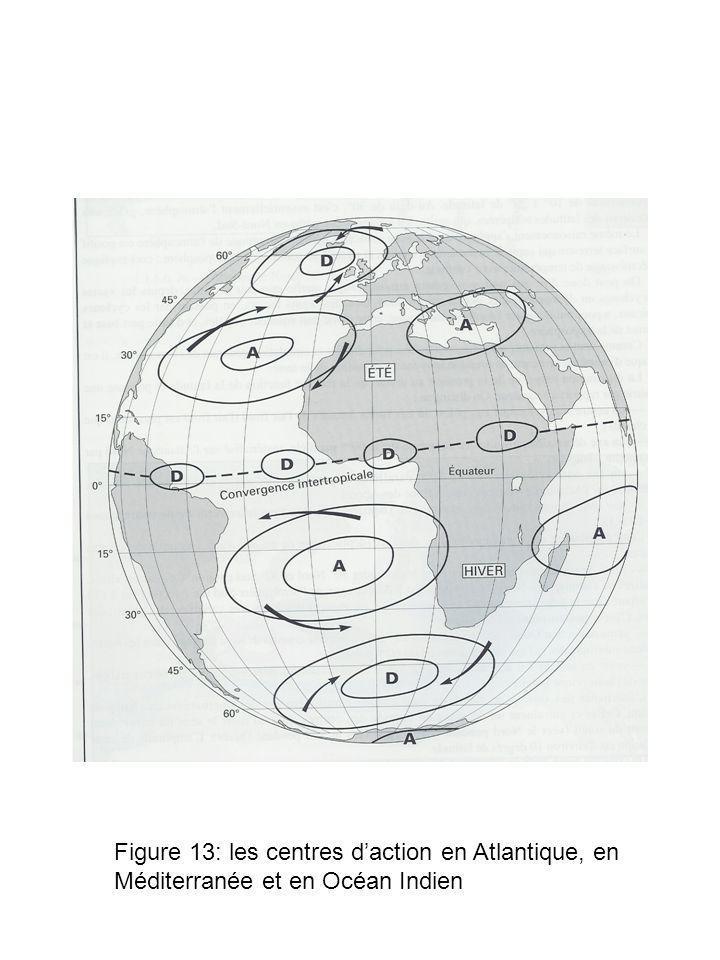 Figure 13: les centres daction en Atlantique, en Méditerranée et en Océan Indien