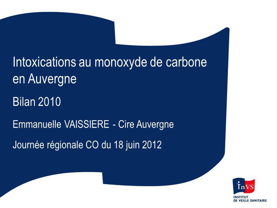 Intoxications au monoxyde de carbone en Auvergne Bilan 2010 Emmanuelle VAISSIERE - Cire Auvergne Journée régionale CO du 18 juin 2012