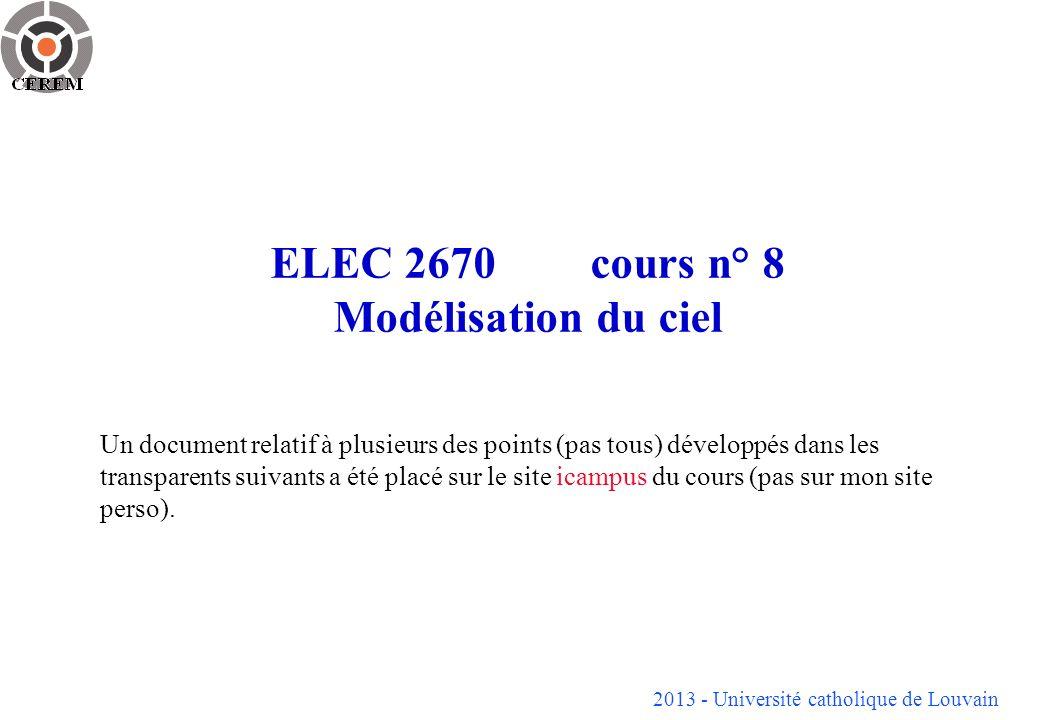 2013 - Université catholique de Louvain 2 Introduction Si on admet la décomposition présentée dans la première partie, on constate que lon a besoin pour caractériser léclairement en fonction de linclinaison et lorientation dun panneau de 3 paramètres ou plus correspondant à léclairement directionnel (1) léclairement diffus hémisphérique - isotrope (1) -ou isotrope + cercle dhorizon (2) -ou isotrope + zénithal (2) -ou plus détaillé (> 2) léclairement diffus du cercle dhorizon (1) léclairement diffus du sol (1, facile à éliminé si on connaît lalbédo local du sol) Or, on ne dispose souvent que de la mesure du rayonnement global sur plan horizontal + parfois la mesure du rayonnement direct.