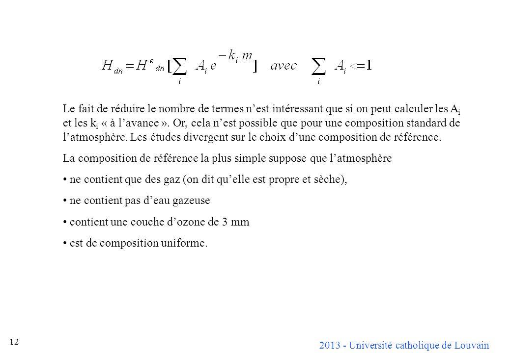 2013 - Université catholique de Louvain 12 Le fait de réduire le nombre de termes nest intéressant que si on peut calculer les A i et les k i « à lava