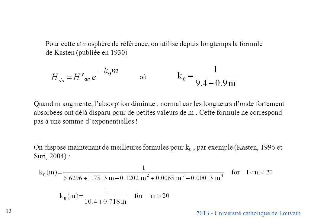 2013 - Université catholique de Louvain 13 Pour cette atmosphère de référence, on utilise depuis longtemps la formule de Kasten (publiée en 1930) où Q