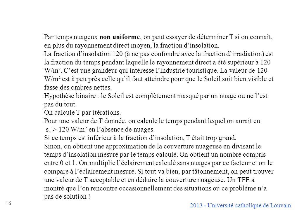 2013 - Université catholique de Louvain 16 Par temps nuageux non uniforme, on peut essayer de déterminer T si on connaît, en plus du rayonnement direc