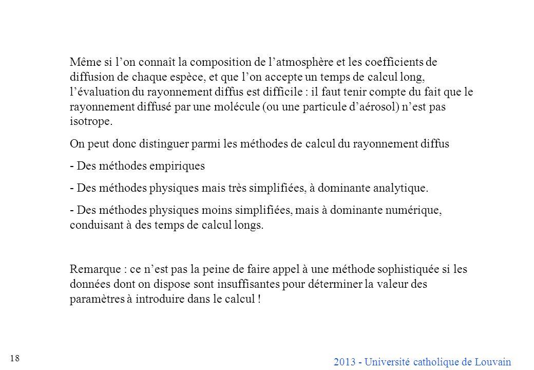 2013 - Université catholique de Louvain 18 Même si lon connaît la composition de latmosphère et les coefficients de diffusion de chaque espèce, et que