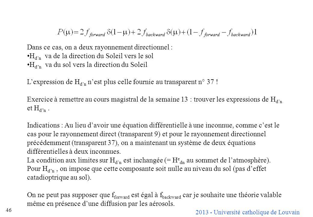2013 - Université catholique de Louvain 46 Dans ce cas, on a deux rayonnement directionnel : H dn va de la direction du Soleil vers le sol H d