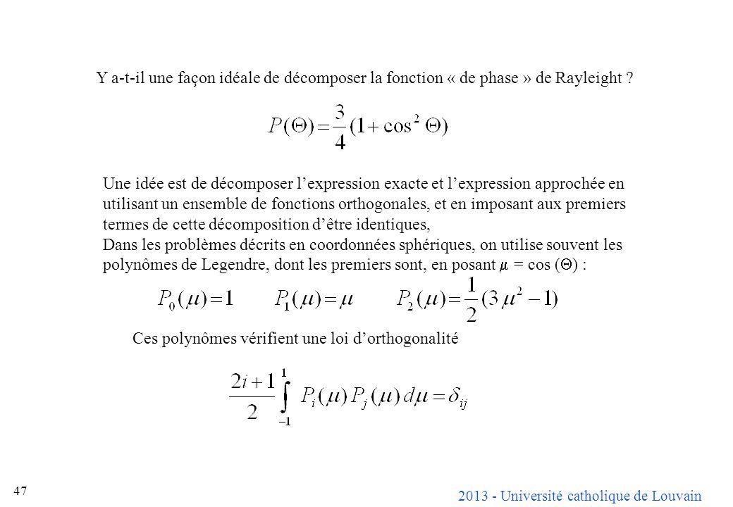 2013 - Université catholique de Louvain 47 Y a-t-il une façon idéale de décomposer la fonction « de phase » de Rayleight ? Une idée est de décomposer