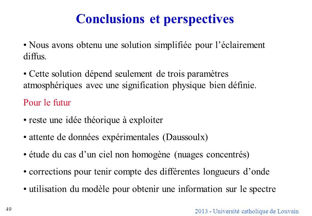 2013 - Université catholique de Louvain 49 Conclusions et perspectives Nous avons obtenu une solution simplifiée pour léclairement diffus. Cette solut