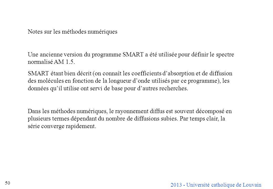 2013 - Université catholique de Louvain 50 Notes sur les méthodes numériques Une ancienne version du programme SMART a été utilisée pour définir le sp