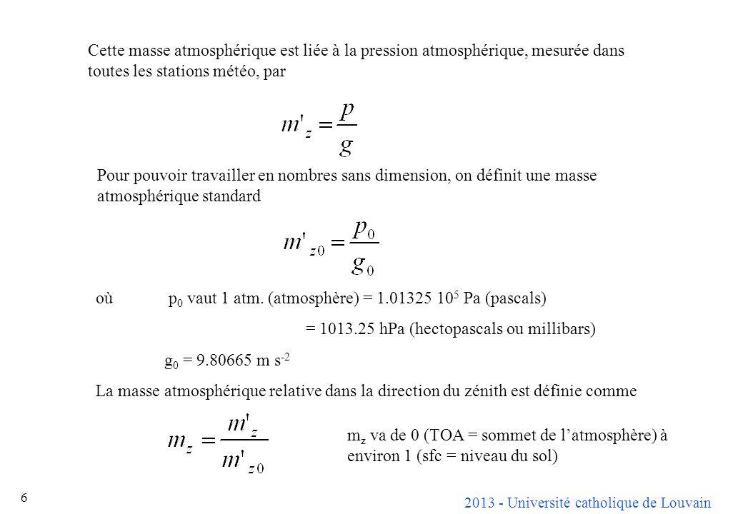 2013 - Université catholique de Louvain 27 Calcul a priori du trouble dabsorption Labsorption est surtout le fait des gaz variables (ozone et vapeur deau gazeuse) : les gaz constants et les aérosols sont produisent essentiellement de la diffusion.