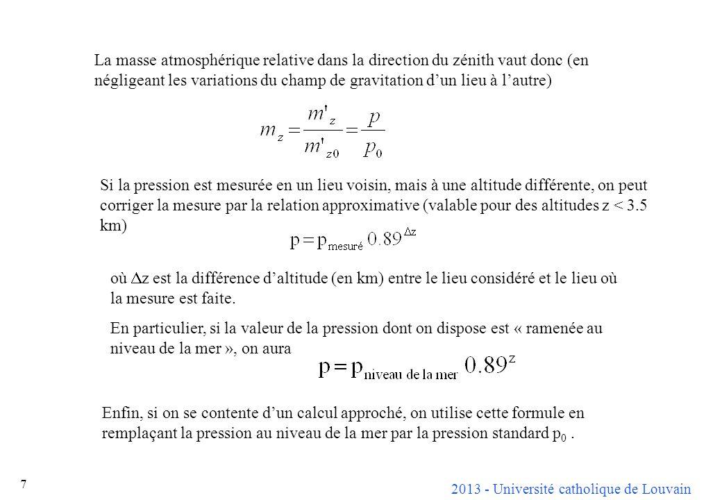 2013 - Université catholique de Louvain 28 Connaissant lépaisseur de la couche dozone ( e ) et la hauteur deau condensable (w), on peut calculer approximativement labsorption due à ces gaz : et finalement, en désignant par T 0 le trouble dabsorption