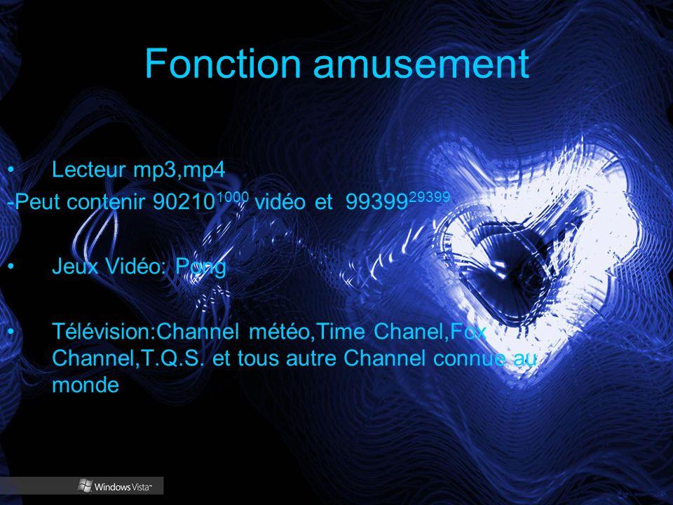 Fonction amusement Lecteur mp3,mp4 -Peut contenir 90210 1000 vidéo et 99399 29399 Jeux Vidéo: Pong Télévision:Channel météo,Time Chanel,Fox Channel,T.Q.S.