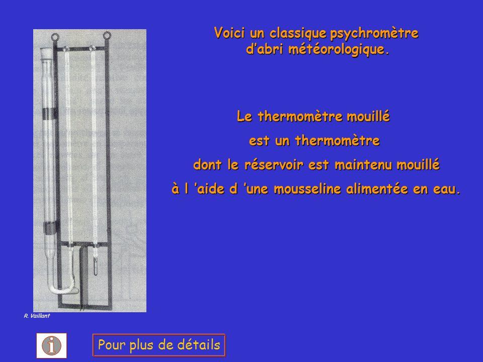 Le thermomètre mouillé est un thermomètre dont le réservoir est maintenu mouillé dont le réservoir est maintenu mouillé à l aide d une mousseline alim
