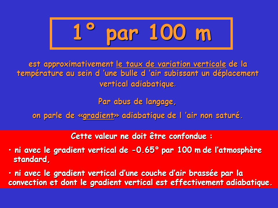 1° par 100 m est approximativement le taux de variation verticale de la température au sein d une bulle d air subissant un déplacement vertical adiaba