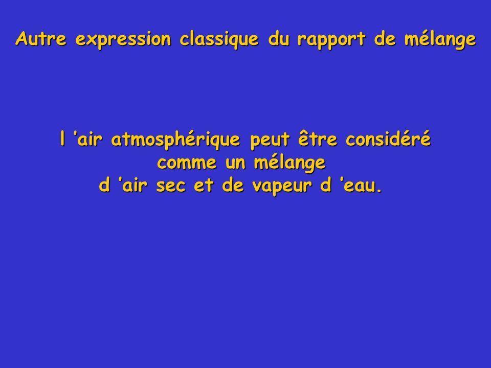l air atmosphérique peut être considéré comme un mélange d air sec et de vapeur d eau. Autre expression classique du rapport de mélange