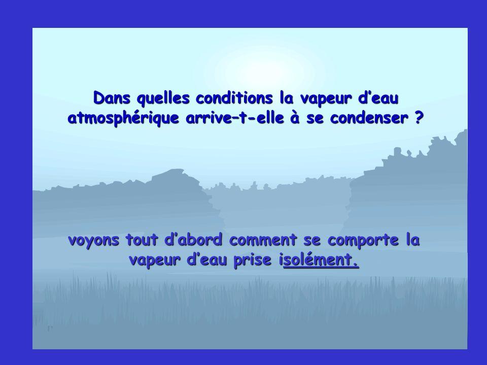 Dans quelles conditions la vapeur deau atmosphérique arrive–t-elle à se condenser ? voyons tout dabord comment se comporte la vapeur deau prise isolém
