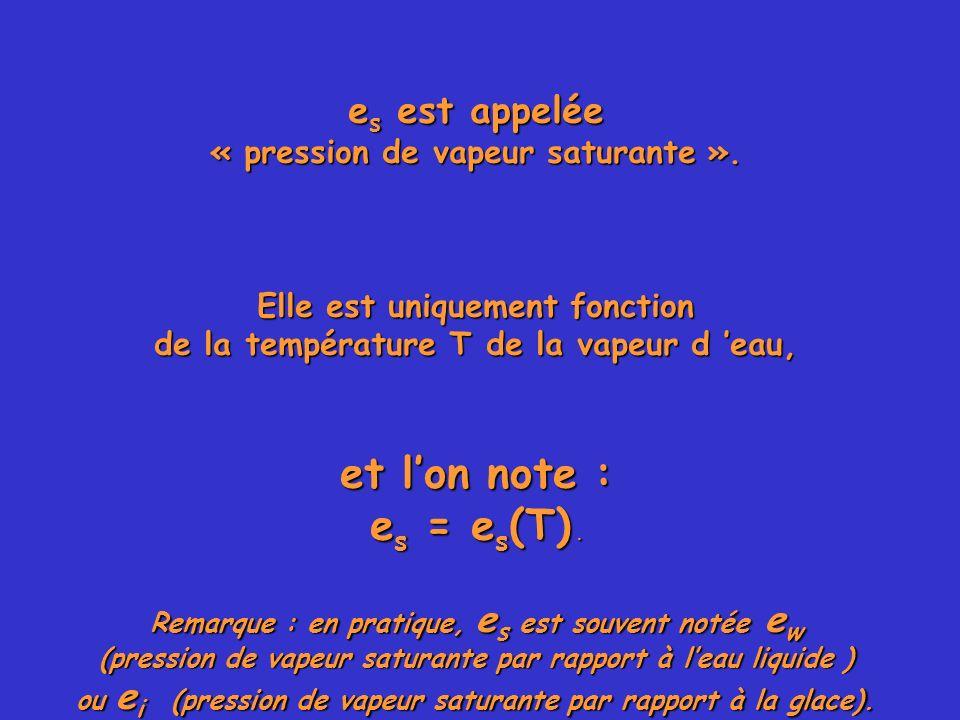 e s est appelée « pression de vapeur saturante ». Elle est uniquement fonction de la température T de la vapeur d eau, et lon note : e s = e s (T). Re