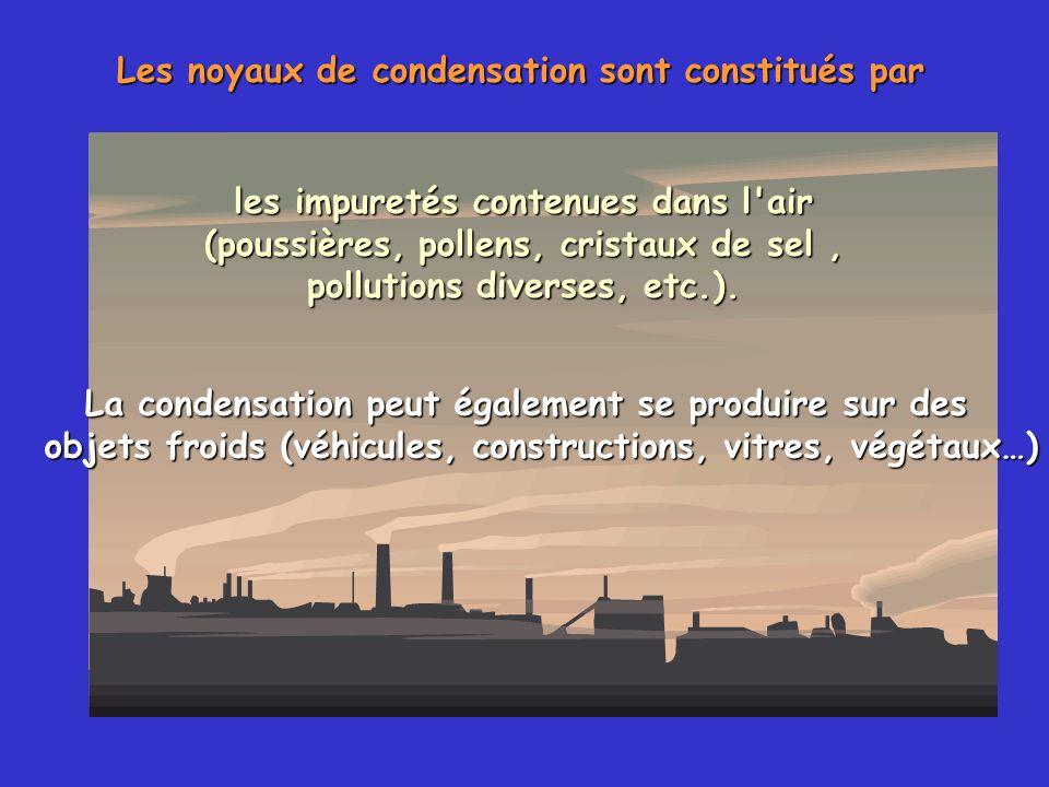 Les noyaux de condensation sont constitués par les impuretés contenues dans l'air (poussières, pollens, cristaux de sel, pollutions diverses, etc.). L