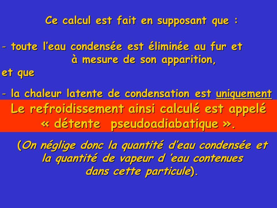 Ce calcul est fait en supposant que : - toute leau condensée est éliminée au fur et à mesure de son apparition, à mesure de son apparition, et que - l