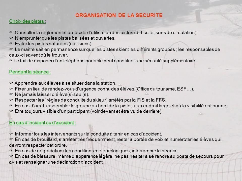ORGANISATION DE LA SECURITE Choix des pistes : Consulter la réglementation locale dutilisation des pistes (difficulté, sens de circulation) N'emprunte