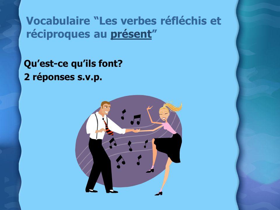 Vocabulaire Les verbes réfléchis et réciproques au présent Quest-ce quils font? 2 réponses s.v.p.