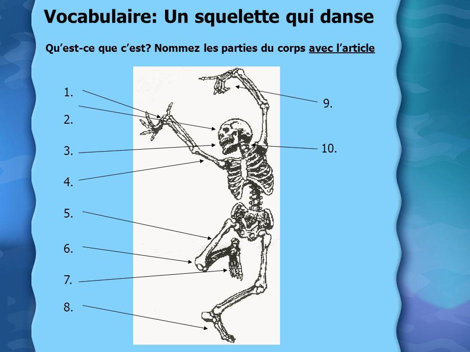 Vocabulaire: Un squelette qui danse Quest-ce que cest? Nommez les parties du corps avec larticle 1. 2. 3. 4. 5. 6. 7. 8. 9. 10.