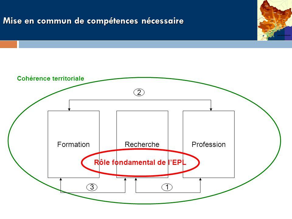 Mise en commun de compétences nécessaire Cohérence territoriale ProfessionFormationRecherche 1 2 3 Rôle fondamental de lEPL