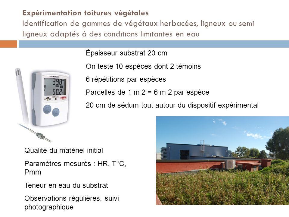 Expérimentation toitures végétales Identification de gammes de végétaux herbacées, ligneux ou semi ligneux adaptés à des conditions limitantes en eau