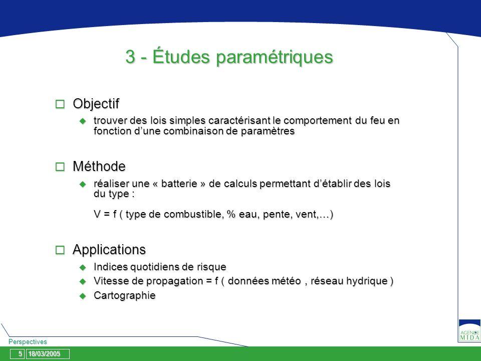 18/03/2005 Perspectives 5 3 - Études paramétriques Objectif Objectif trouver des lois simples caractérisant le comportement du feu en fonction dune co