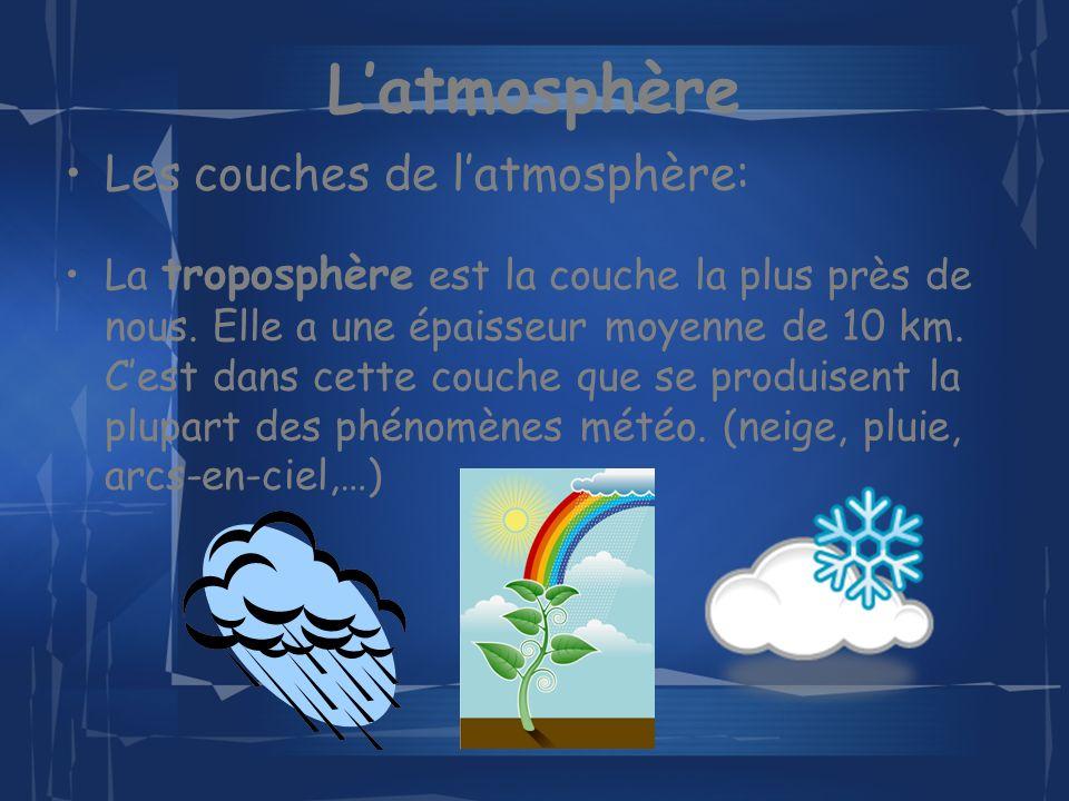 Latmosphère Les couches de latmosphère: La troposphère est la couche la plus près de nous.