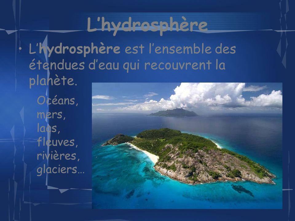 Lhydrosphère L hydrosphère est lensemble des étendues deau qui recouvrent la planète.
