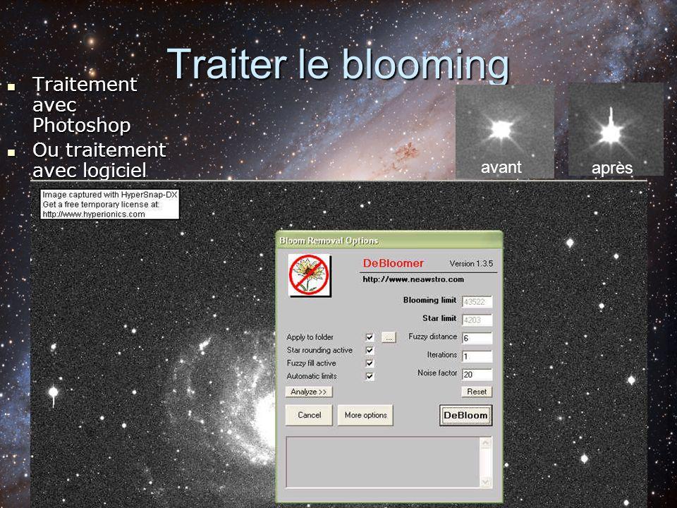 Traiter le blooming Traitement avec Photoshop Traitement avec Photoshop Ou traitement avec logiciel Ou traitement avec logiciel avant après