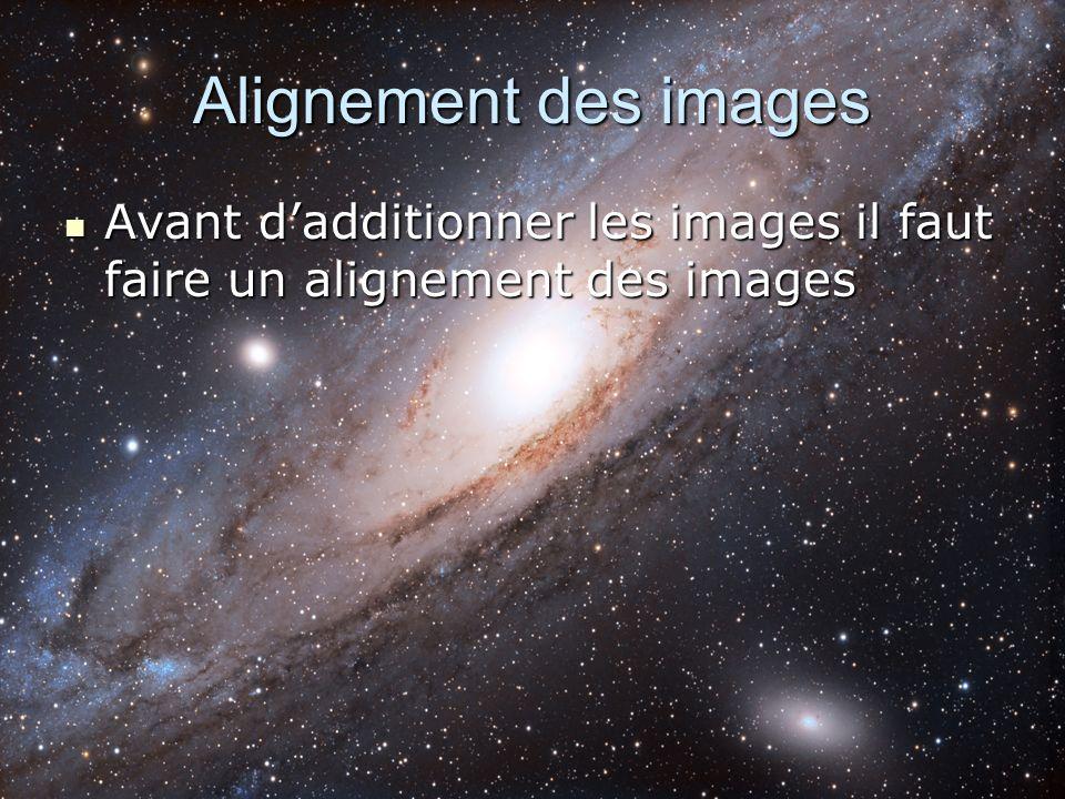 Alignement des images Avant dadditionner les images il faut faire un alignement des images Avant dadditionner les images il faut faire un alignement d