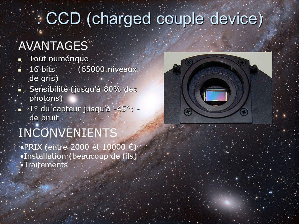 : CCD (charged couple device) Tout numérique Tout numérique 16 bits(65000 niveaux de gris) 16 bits(65000 niveaux de gris) Sensibilité (jusquà 80% des