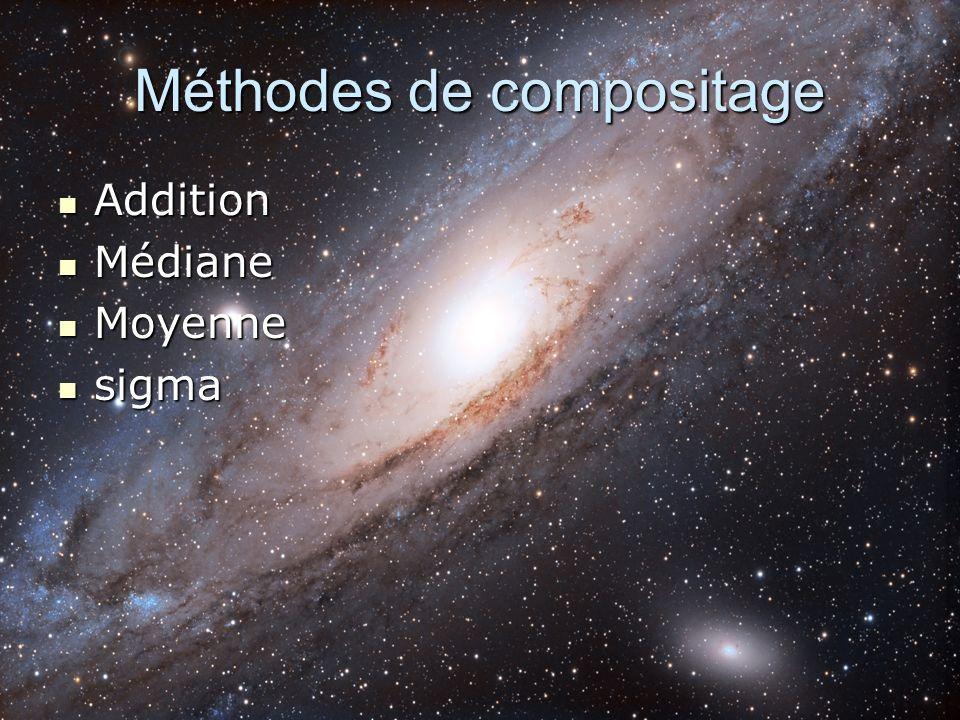 Méthodes de compositage Addition Addition Médiane Médiane Moyenne Moyenne sigma sigma