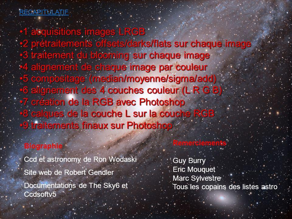 Biographie Ccd et astronomy de Ron Wodaski Site web de Robert Gendler Documentations de The Sky6 et Ccdsoftv5 Remerciements Guy Burry Eric Mouquet Mar