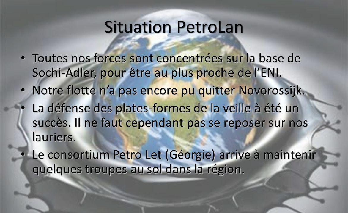 Situation PetroLan Toutes nos forces sont concentrées sur la base de Sochi-Adler, pour être au plus proche de lENI.