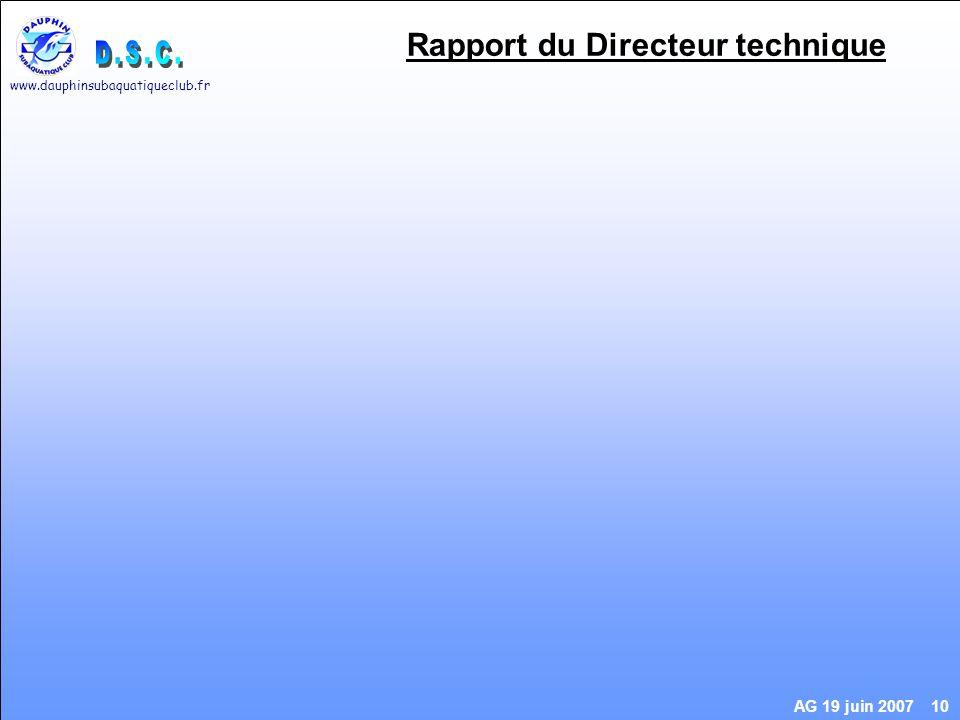 www.dauphinsubaquatiqueclub.fr AG 19 juin 2007 10 Rapport du Directeur technique