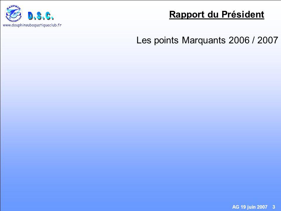 www.dauphinsubaquatiqueclub.fr AG 19 juin 2007 3 Rapport du Président Les points Marquants 2006 / 2007