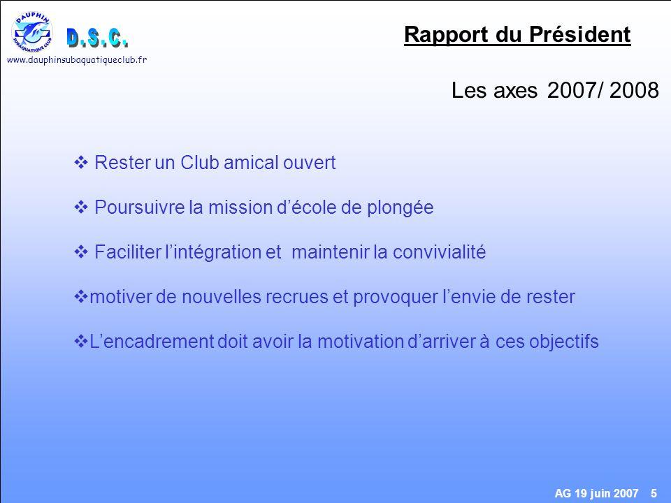 www.dauphinsubaquatiqueclub.fr AG 19 juin 2007 16 Site Internet Mettez à jour votre profil