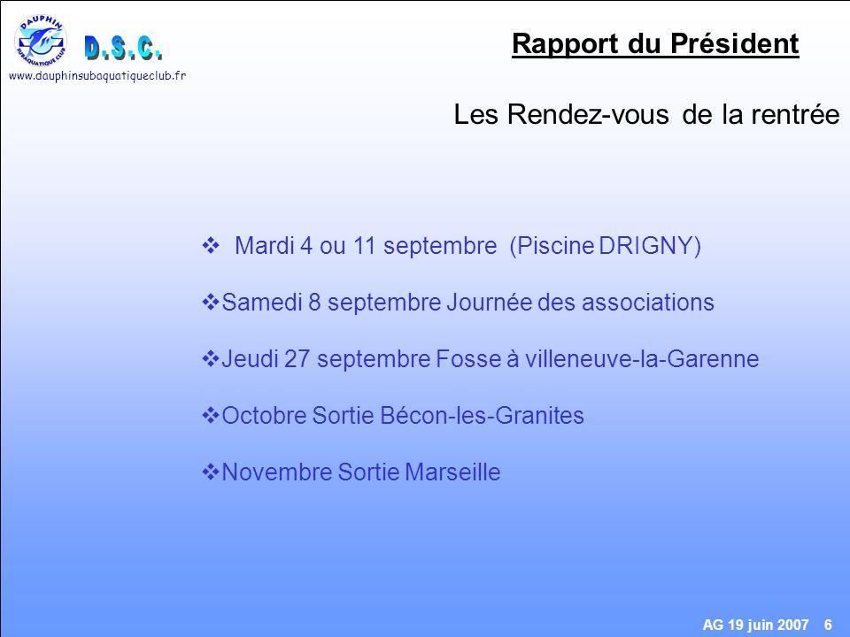www.dauphinsubaquatiqueclub.fr AG 19 juin 2007 17 Pensez à voter Site Internet