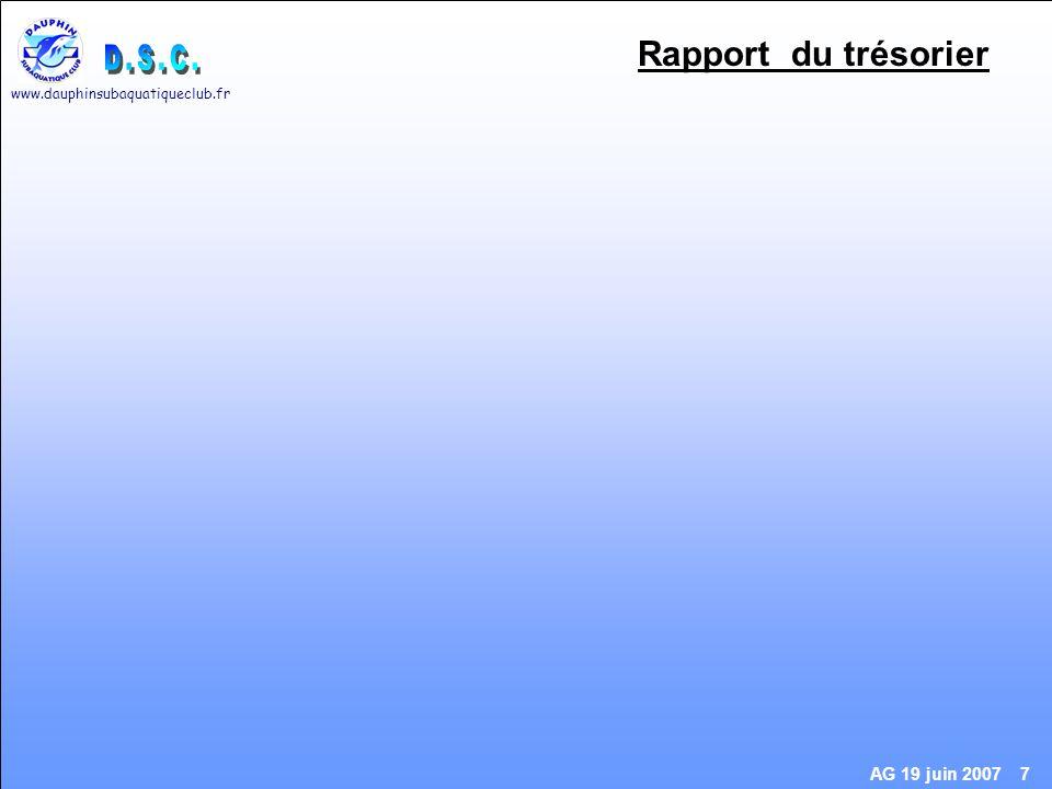 www.dauphinsubaquatiqueclub.fr AG 19 juin 2007 8 Rapport du trésorier