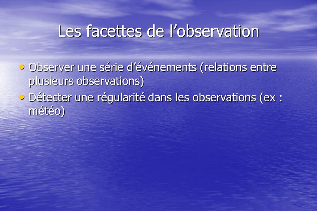 Les facettes de lobservation Observer une série dévénements (relations entre plusieurs observations) Observer une série dévénements (relations entre plusieurs observations) Détecter une régularité dans les observations (ex : météo) Détecter une régularité dans les observations (ex : météo)