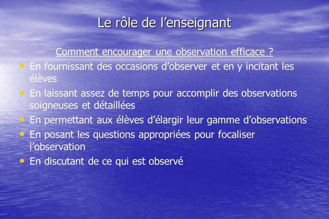Le rôle de lenseignant Comment encourager une observation efficace .