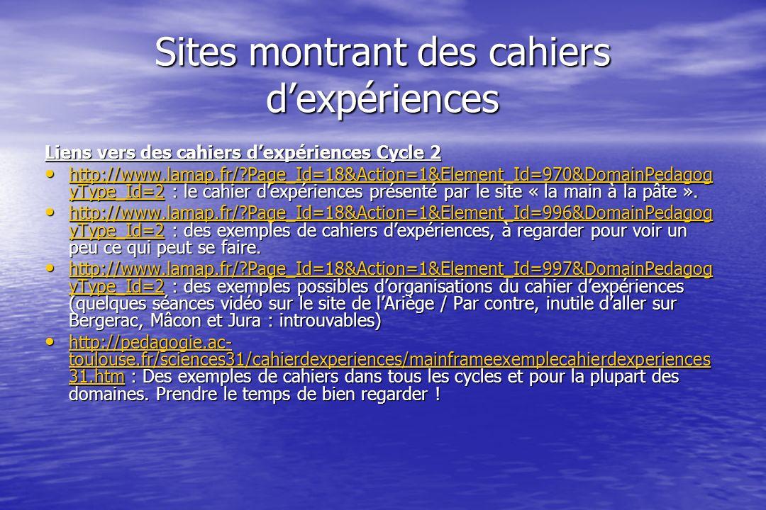 Sites montrant des cahiers dexpériences Liens vers des cahiers dexpériences Cycle 2 http://www.lamap.fr/ Page_Id=18&Action=1&Element_Id=970&DomainPedagog yType_Id=2 : le cahier dexpériences présenté par le site « la main à la pâte ».