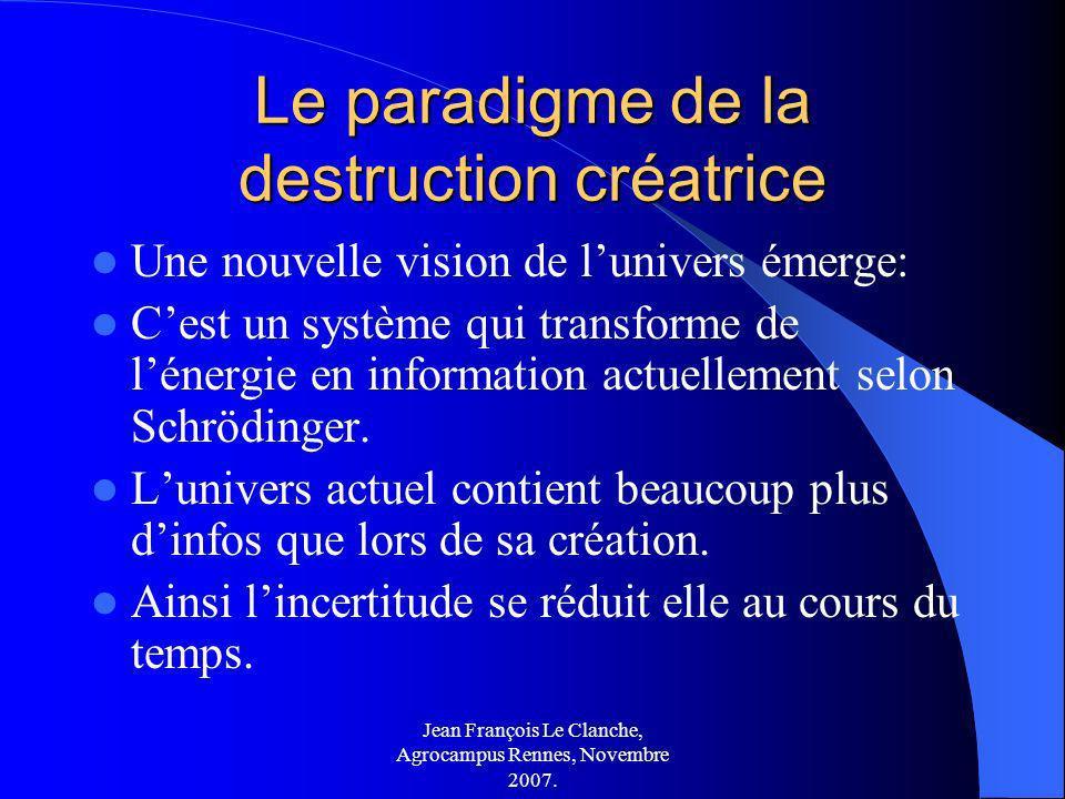 Jean François Le Clanche, Agrocampus Rennes, Novembre 2007. Le paradigme de la destruction créatrice Une nouvelle vision de lunivers émerge: Cest un s