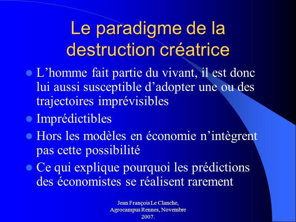 Jean François Le Clanche, Agrocampus Rennes, Novembre 2007. Le paradigme de la destruction créatrice Lhomme fait partie du vivant, il est donc lui aus