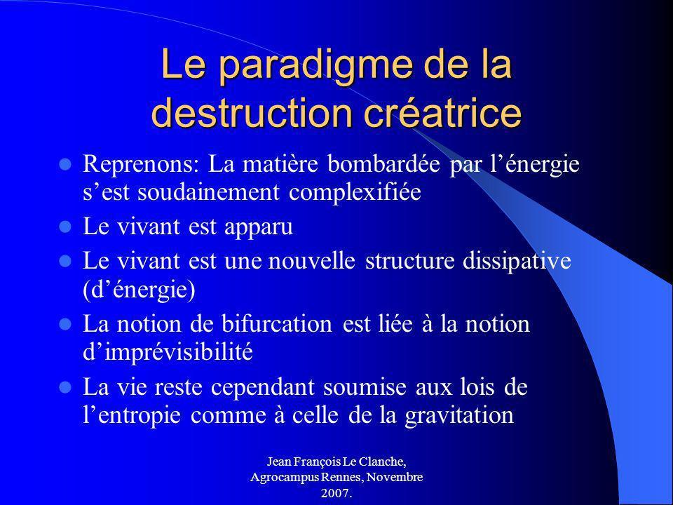 Jean François Le Clanche, Agrocampus Rennes, Novembre 2007. Le paradigme de la destruction créatrice Reprenons: La matière bombardée par lénergie sest