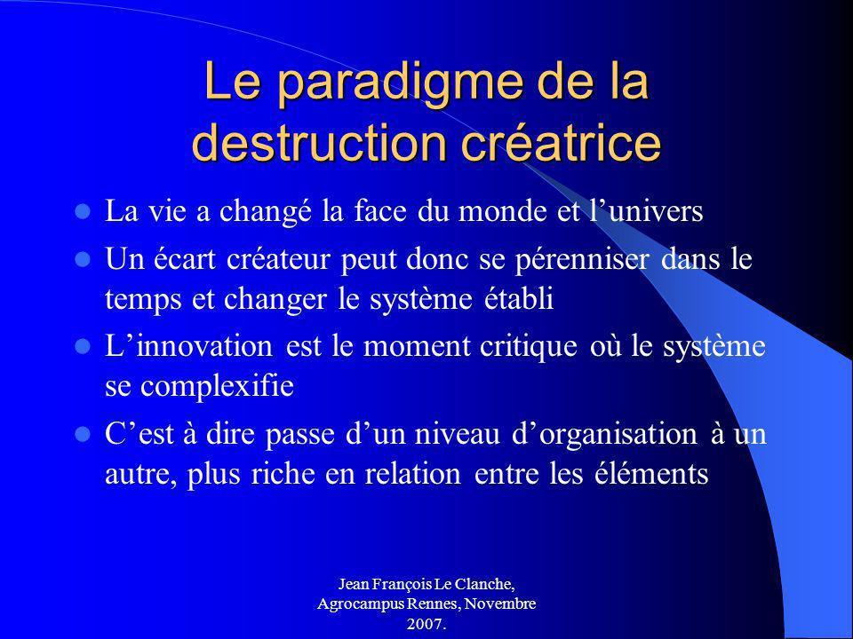 Jean François Le Clanche, Agrocampus Rennes, Novembre 2007. Le paradigme de la destruction créatrice La vie a changé la face du monde et lunivers Un é