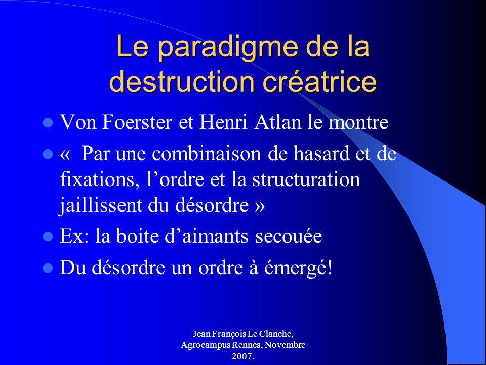 Jean François Le Clanche, Agrocampus Rennes, Novembre 2007. Le paradigme de la destruction créatrice Von Foerster et Henri Atlan le montre « Par une c